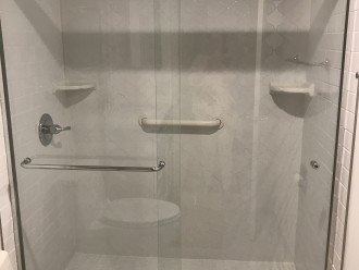 Newly remodeled main bath. Walk in shower.