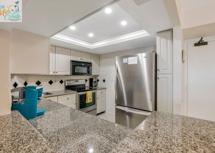 Fully equipped and remodeled kitchen.