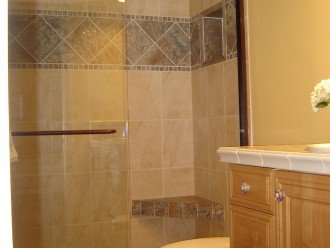 The shower in the ensuite master bathroom.