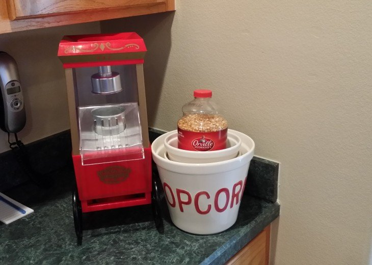 Thee is even a pop-corn popper for your movies watching time!