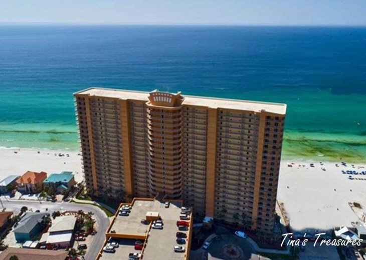 From the air-Front of Treasure Island Resort overlooking beach & Gulf of Mexico