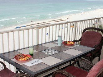 View from 802 sq ft wrap around balcony overlooking beach & Gulf of Mexico