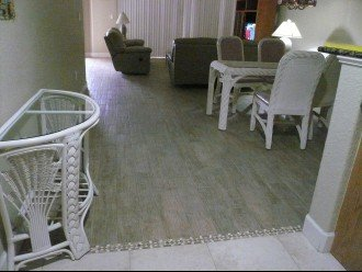 New porcelain wood look tile