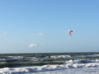 Kite-surfers come out on the windy days