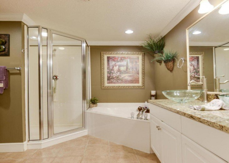Master bath with soaking tub, shower and double vanity