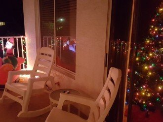 Intercoastal Balcony decorated for the holidays.