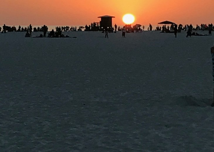 Sunsets on Siesta Key Beach are AMAZING! And you can walk right over.