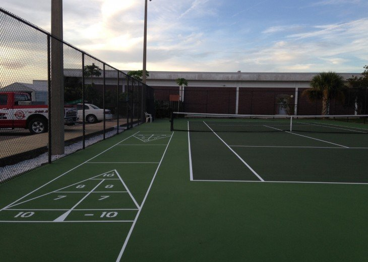 tennis courts and Shuffle Board