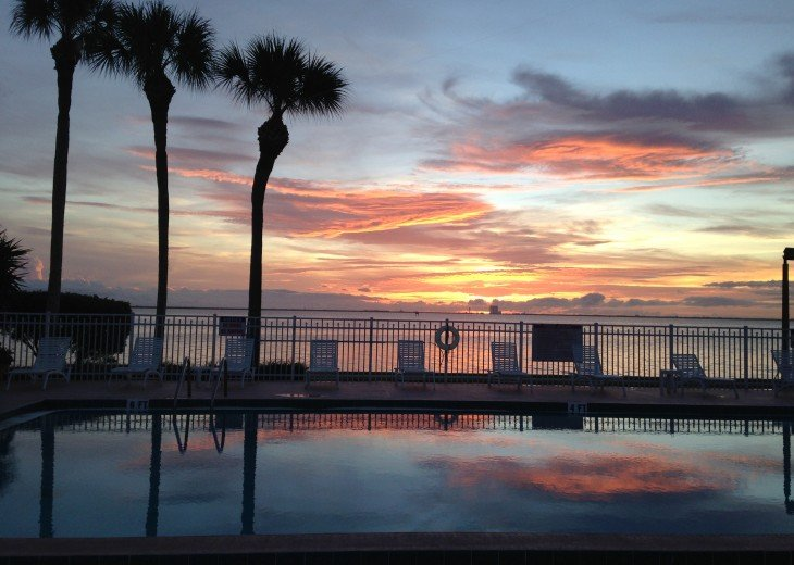 Sunrise over heated pool and Indian River Lagoon