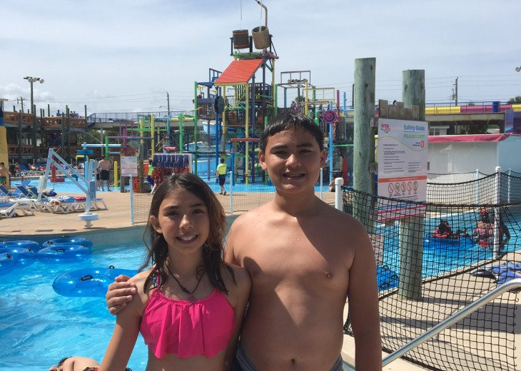 Fun for all ages! Enjoy the wave pool, slides, and game room. Great eats!