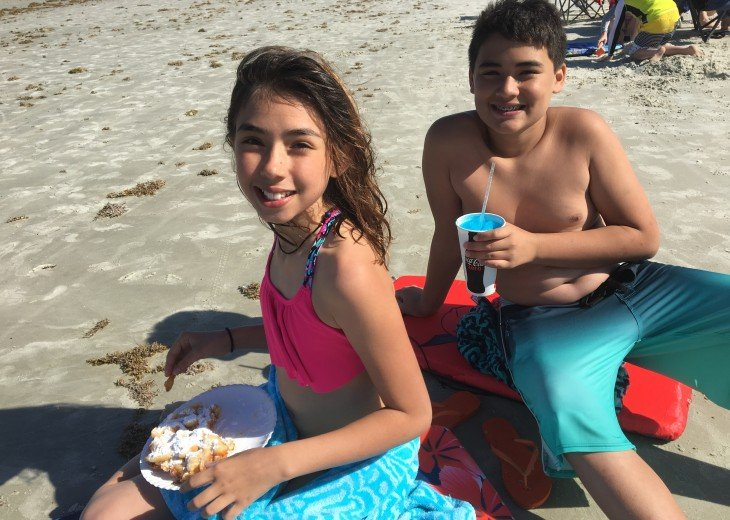 There's nothing like a slushie and funnel cake on the beach! Cheese fries too.