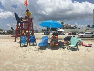 We provide the chairs, towels and toys. Lifeguard provides peace of mind.