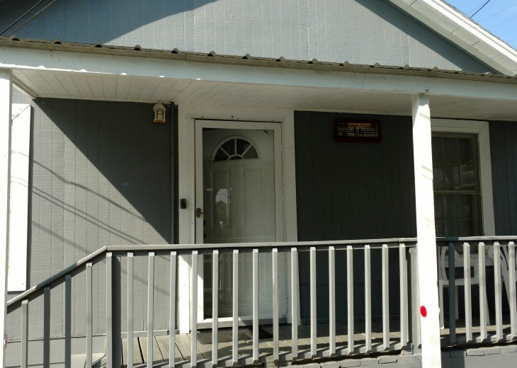 Front porch and entry door