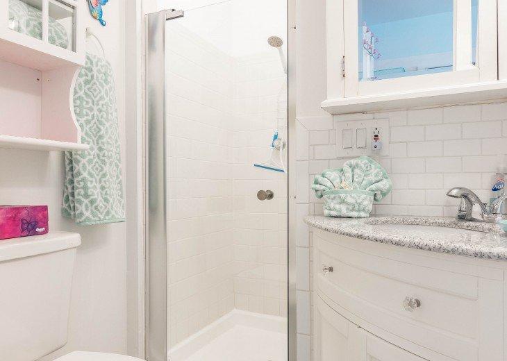 ALL NEW BATH, SINK, VANITY, MIRROR, SHOWER DOOR, TILE, TOILET, PAINT, FLOOR, ETC