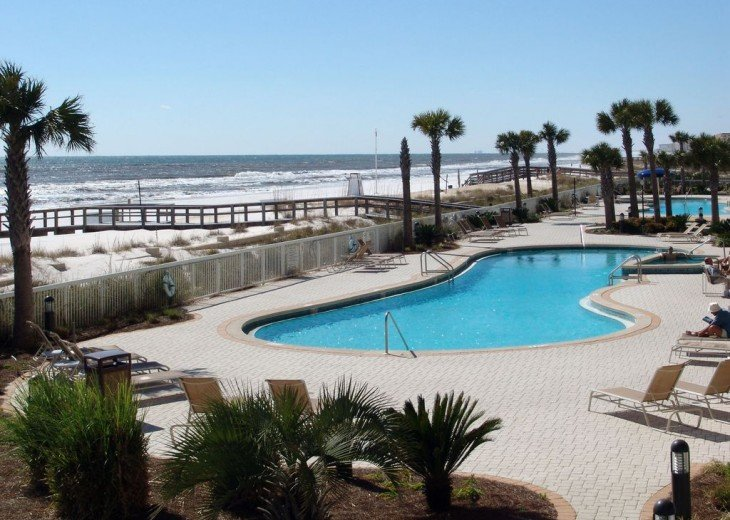 2 pools 2 hot tubs. Pool closest to our condo is heated in winter