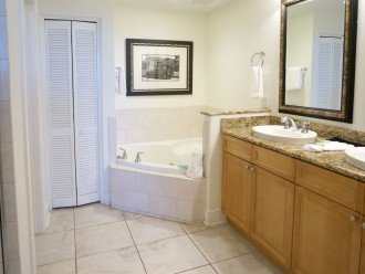 Master bathroom, walk in shower, jetted tub, toilet room