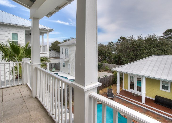 Balcony off main master overlooking pool