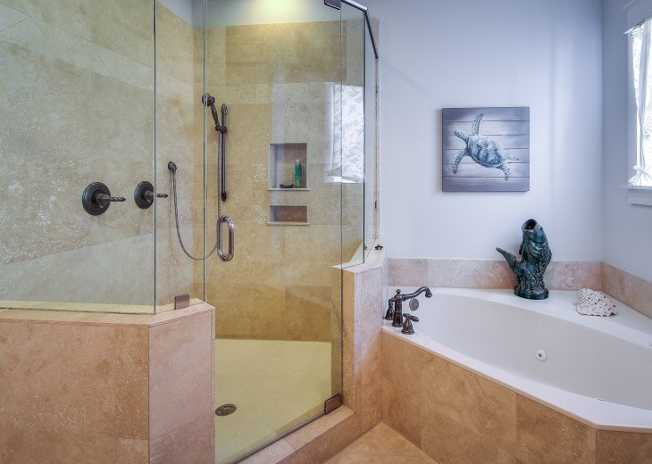 Main Master bath with jacuzzi tub and rain head shower