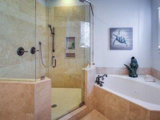 Main Master bath with jacuzzi tub and rain head shower
