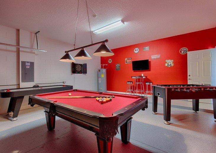 Pool, foosball, air hockey, TV and bar table and stools