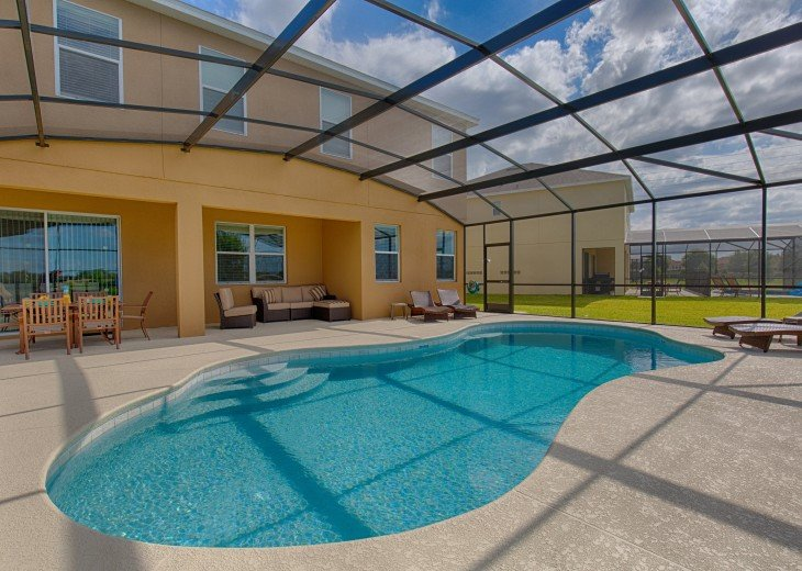 Extended 30' pool and deck makes a great outdoors area