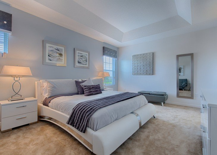 The upstairs master suite