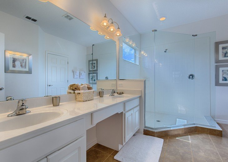 Walkin shower in the master suite