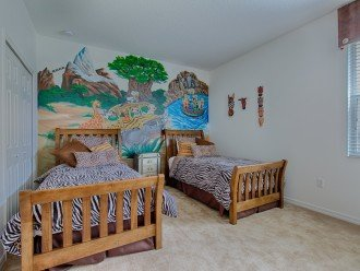 The downstairs twin Animal Kingdom themed bedroom