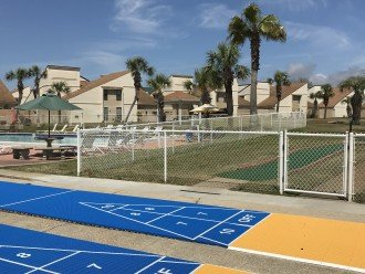 Shuffle board courts and miniature golf course