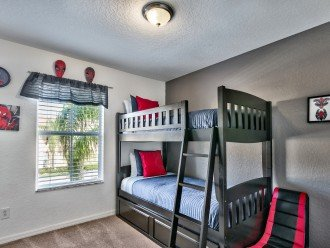 Spider-man room, sleeps 3 with gaming chairs and console