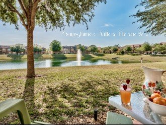 Relax on the back patio with a drink