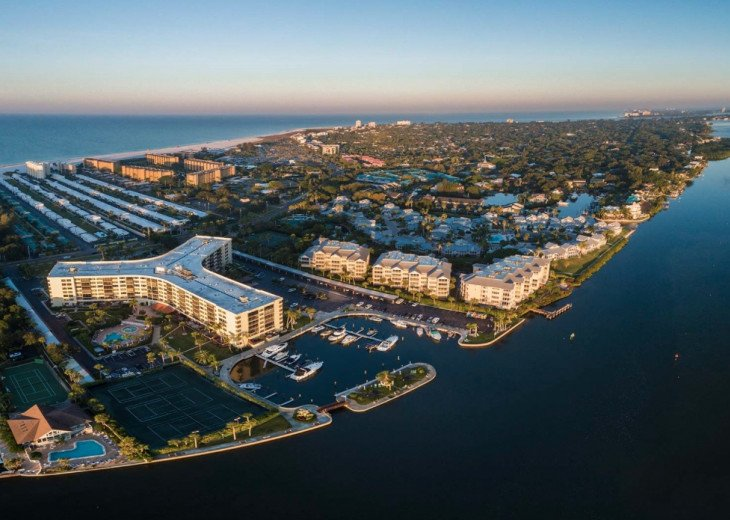 Aerial View of Harbor Towers Yacht & Racquet Club on Siesta Key