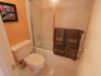 2nd bathroom has tub and shower
