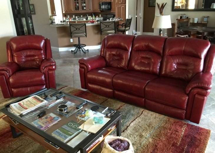 Living area with leather recliners