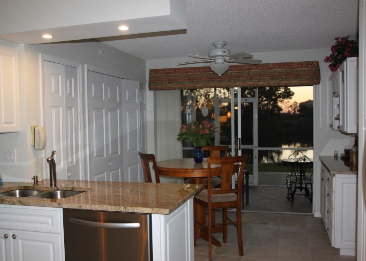 Breakfast nook with lane in background