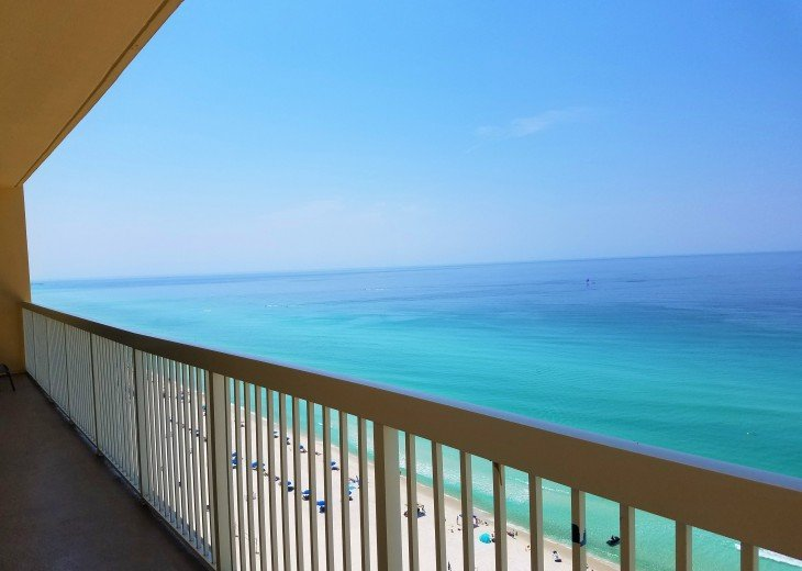 Balcony view to the east of the calming emerald green water of the Gulf