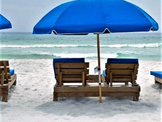 Beach view of your FREE set of beach chairs (March-October)