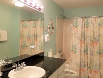 Guest bathroom with tub/shower combo & granite vanity~acces from hall or bedroom