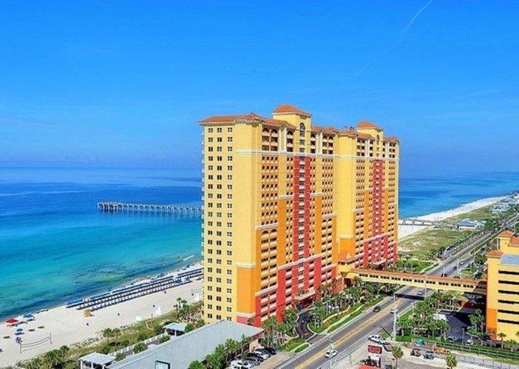 Aerial view of Calypso Resort~the beach~the Emerald Coast