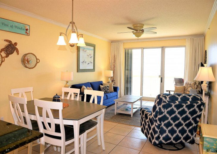 Main living area is spacious with access to private balcony~endless Gulf views