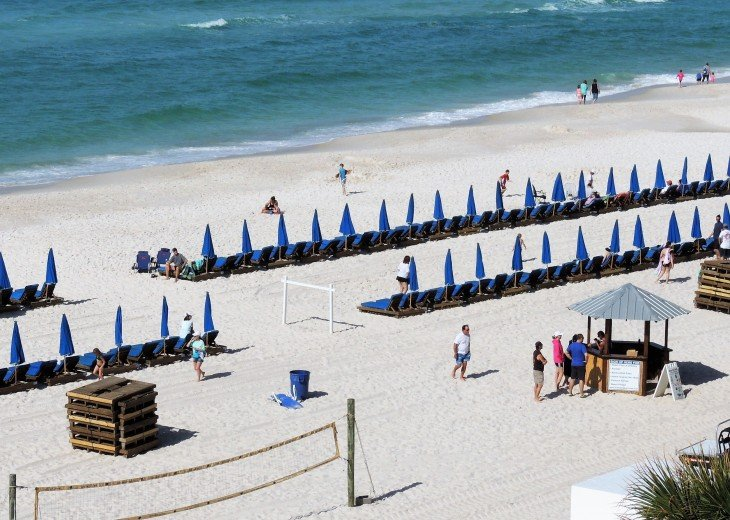 View of the free beach chair service that comes with your reservation
