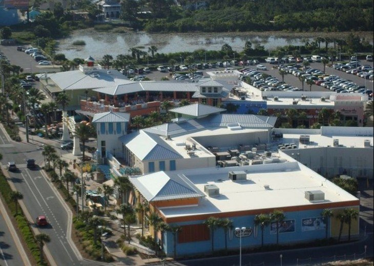 Aerial view of Pier Park's entrance