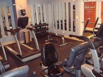 Calypso onsite fitness equipped w/ weights, treadmills, bikes & elliptical's