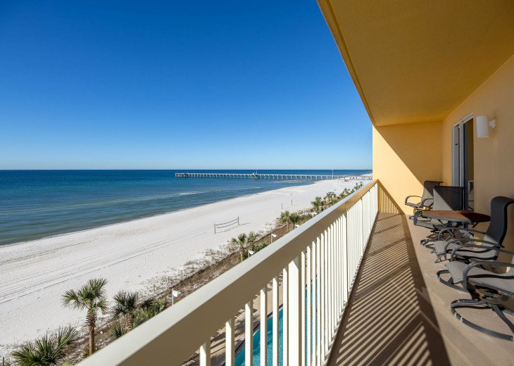 Peaceful view of the Emerald coast to west. Balcony with extra seating