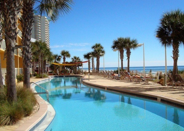 One of the 2 Olympic size beach side pools for Calypso guests only.