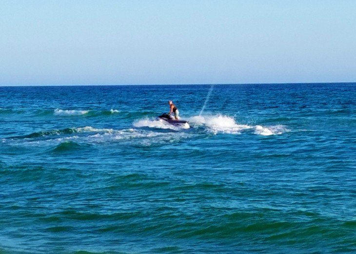 Calypso beach has fun water sports for our guests to enjoy~ jet skiing...