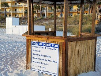 Beach hut to reserve your FREE beach chairs & water sports at Calypso beach