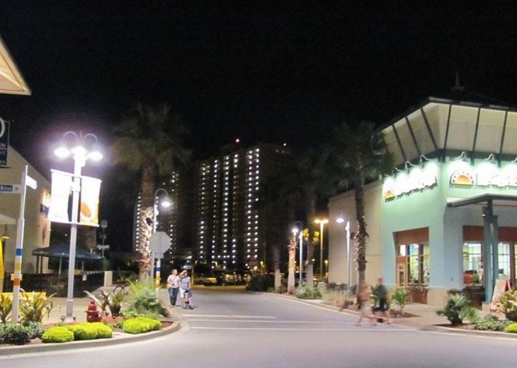 Night time view from the center of Pier Park towards Calypso Resort