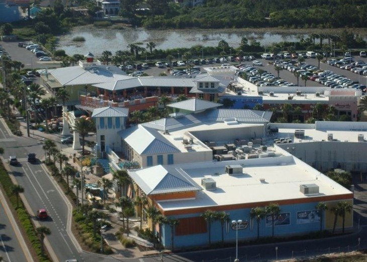Aerial view of the Pier Park entrance~shopping, bars & restaurants & more to do