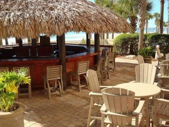 Calypso Tiki Bar is full service & sits between the pools & beach access